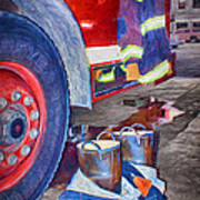Fire Engine - Firemen - Equipment Art Print