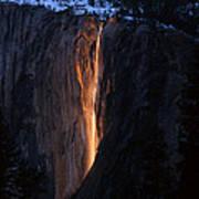 Fire Falls In Yosemite  Art Print