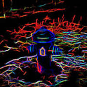Fire Hydrant Bathed In Neon Art Print