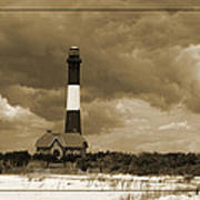 Fire Island Light In Sepia Art Print