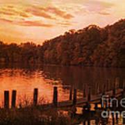 Fire On Lake Newport  Art Print