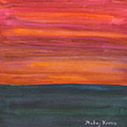Fire Sky Over The Sea Art Print