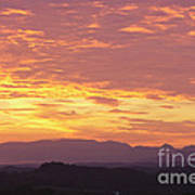 Fire Sunset Over Smoky Mountains Art Print