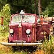 Fire Truck Digital Painted Art Print