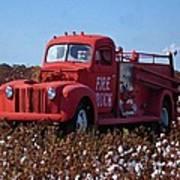 Fire Truck In The Cotton Field Art Print