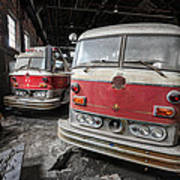 Fire Trucks Abandoned And Dirty Art Print