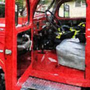 Fireman - Fire Truck With Fireman's Uniform Art Print