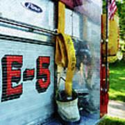 Fireman - Hose In Bucket On Fire Truck Art Print