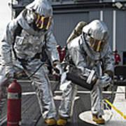 Firemen Confirm A Simulated Fire Art Print