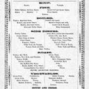 Firemen Dinner Menu - San Francisco - 1856 Art Print