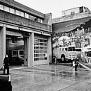 firemen hosing down Vancouver fire rescue services hall 2 in downtown eastside  BC Canada Print by Joe Fox