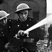 Firemen Training In A Combined War Art Print
