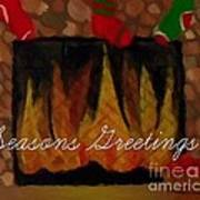 Fireplace - Seasons Greetings Art Print