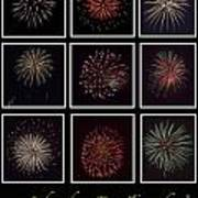 Fireworks - Black Background Art Print