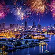 Fireworks Above Bangkok City Art Print