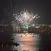 Fireworks At Night For The 4th Of July Over Fort Walton Beach From 14th Floor Balcony Art Print