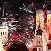 Fireworks In Munich Art Print