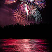 Fireworks In The Country - Pink Art Print by Justin Martinez