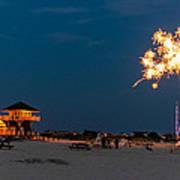 Fireworks On Ther Beach Art Print