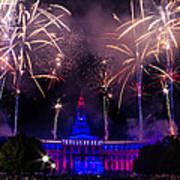 Fireworks Over Denver City And County Building Art Print by Teri Virbickis