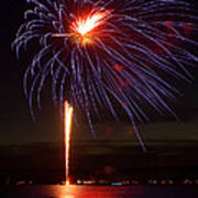 Fireworks Over Lake Art Print by Raymond Earley