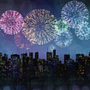 Fireworks Over The City Art Print