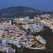 Firostefani At Night Santorini Cyclades Greece  Art Print