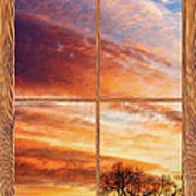 First Dawn Barn Wood Picture Window Frame View Art Print