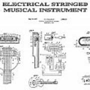 First Electric Guitar Patent Art  1937 Art Print