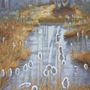 First Light Spring Cattails Art Print