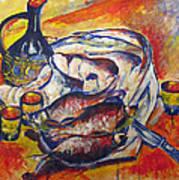Fish And Wine Art Print by Vladimir Kezerashvili