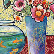 Fish Bowl And Posies Art Print by Diane Fine