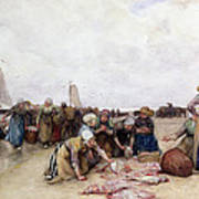 Fish Sale On The Beach  Art Print by Bernardus Johannes Blommers