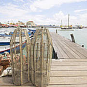 Fish Trap On Jetty In Penang Art Print