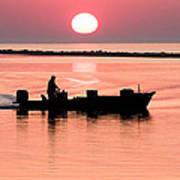 Fisherman At Sunrise Apalachicola Bay Florida  Art Print by Bill Swindaman