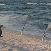 Fisherman At The Beach Art Print