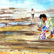 Fisherman On Las Canteras Beach Art Print