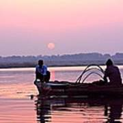 Fisherman On The Ganges River At Varanasi Art Print