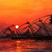 Fisherman Sunset In Kerala-india Art Print
