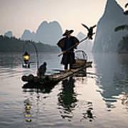 Fisherman With Cormorants On Li River Art Print