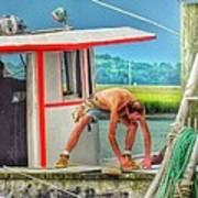 Fisherman Working On His Boat Art Print