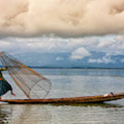 Fishermen In The Inle Lake. Myanmar Art Print