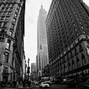 fisheye shot View of the empire state building from West 34th Street and Broadway junction Art Print