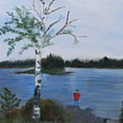 Fishing At First Connecticut Lake Art Print