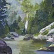 Fishing At The Falls Art Print