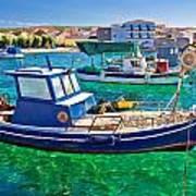 Fishing Boat On Turquoise Sea Art Print