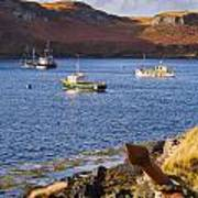 Fishing Boats At Anchor In A Quiet Bay On The Isle Of Skye In Sc Art Print