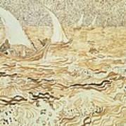 Fishing Boats At Saintes Maries De La Mer Art Print by Vincent van Gogh