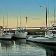 Fishing Boats In A Harbor Towards Evening On Prince Edward Island Art Print
