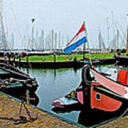 Fishing Boats In Enkhuizen-netherlands Art Print